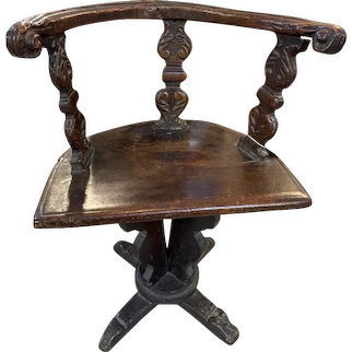 17th Century Hand Carved Swivel Chair