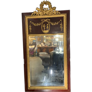 French Louis XVI Style Parcel Gilt and Stained Wall Mirror