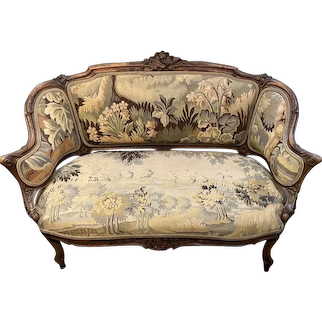Louis XV Style hand carved upholstered Settee with velvet and Tapestry
