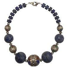Moroccan Hot Enamel Filigree Lapis Lazuli Beaded Choker Necklace