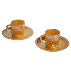 Anchor Hocking (made in USA) Espresso Cups and Saucers / Vintage - Mid Century / Set of 2