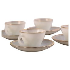 Anchor Hocking (made in USA) White Gold Trimmed Coffee Cup and Saucer / Vintage - Mid Century / Set of 4