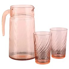 Arcoroc (France) Pink Swirl Pitcher and 2 Glasses Set / Vintage - Mid Century