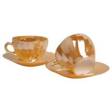 Termocrisa (Mexico) Peach Lustre Large Cup and Saucer / Vintage - Mid Century / Set of 2