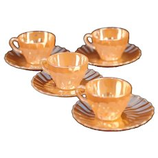 Termocrisa (Mexico) Peach Lustre Swirl Coffee Cup and Saucer / Vintage - Mid Century / Set of 4