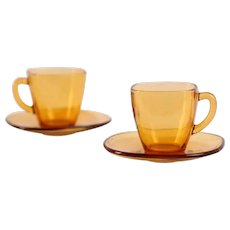 Vereco (France) Amber Espresso Cup and Saucer / Vintage - Mid Century / Set of 2