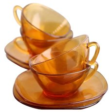 Vereco (France) Amber Tea - Cappuccino - Latte Cup and Saucer / Vintage / Set of 4