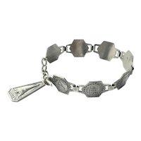 French Art Deco Scenes of Paris Silver Bracelet