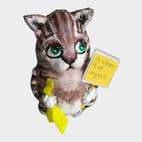 Collectible cat made of papier-mâché. Cat for the interior in a single copy