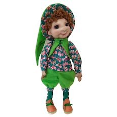 Nylon doll for the interior of the children's room. Doll naughty boy