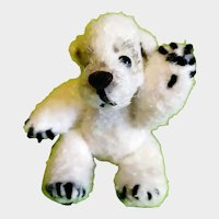 Miniature Teddy knitted, collectible white bear in a single copy