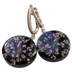 Round Black Real Flower Earrings, Resin Holiday Earrings