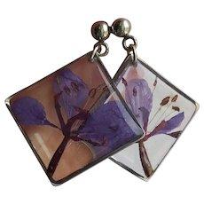Purple Flower Resin Square Frame Stud Earrings with Resin Jewelery