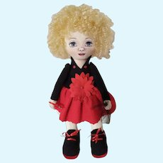 Fabric beautiful doll, DIY doll, Collectible doll for home and child, Doll for seamstress