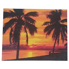 Unframed Diamond Painting Finished Painting, Sunset Beach, Finished Decor, Home Decor, Glitter Wall Painting