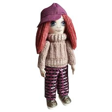 Doll for the interior of the children's room. Stylish handmade doll. Doll with baby