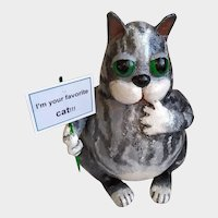 Collectible handmade cat with a personalized inscription. Author's design.