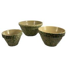 3 Roseville Bowls Splatter Spongeware