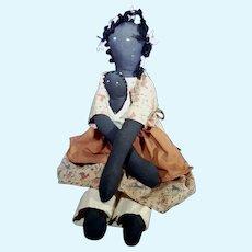 African American Folk-Art Doll & Baby