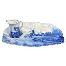 1896 Pair Rhosenthal RC Delft Porcelain Creamer & Tray