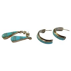 Pair Enamel Turquoise-colored Sterling Lines
