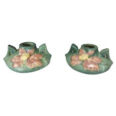 1940s Roseville Clematis Candleholders 1158-2