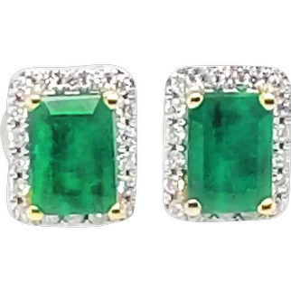 14k Gold Earrings with Emeralds