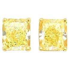 6.9+ Carat Fancy Canary Diamond Earrings