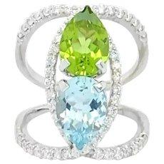 Aquamarine And Peridot Ring