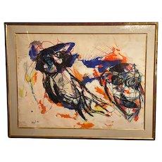 Karel Appel Large Framed Multi Media Watercolor Painting