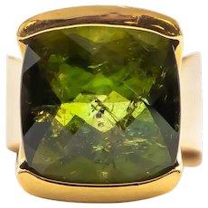 Linda Joslin 22 Carat Green Tourmaline Ring 18 Karat Yellow Gold