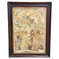 Antique Framed Tapestry Work Owned by Melanie Griffith