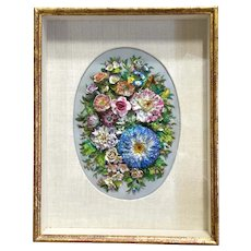 Beautifully Intricate Frame Porcelain Floral Art Piece