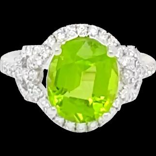 4 Carat Peridot Ring with Diamonds