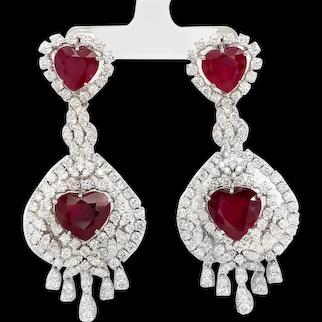 Heart Shaped Ruby Earrings with Diamonds