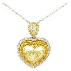 10.51 Carat Heart Shaped Canary Diamond Necklace