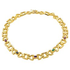 Multi-Color Gemstones Necklace 7.50 Carat 14 Karat Gold 59 Grams