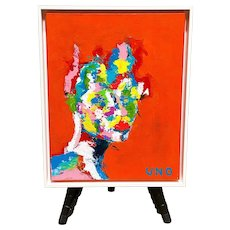 Protruding Portrait in Multi Color Original Painting by UNO