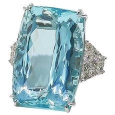 Aquamarine Ring 47.41 Carat with Diamonds 1.19 Carat 14 Karat Gold