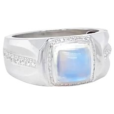 Moonstone Ring with Diamonds