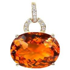 Citrine Pendant 16.14 Carat with Diamonds 0.16 Carat 14 Karat Gold