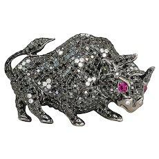 Black Diamonds Bull Pendant 2.94cts with White Diamonds 0.19cts & Pink Sapphires