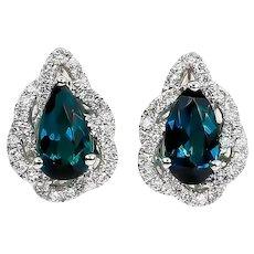 Green Tourmaline Earrings 1.53 Carat with Diamonds 0.37 Carat 18 Karat Gold