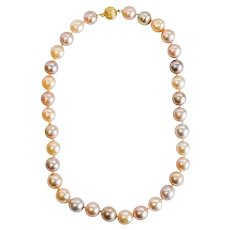 MultiColored Pearl Necklace with Gold Clasp