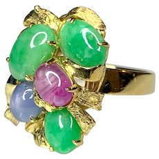 14K Yellow Gold Star Sapphire with Jade Cabochon Ring
