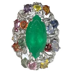 18K Yellow & White Gold Marquise Cut Emerald and Multicolored Sapphire Diamond Ring