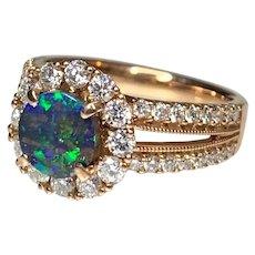18K Rose Gold Round Black Opal Rose Gold Diamond Ring