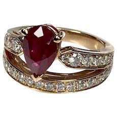 18K Rose Gold Pear Shaped Ruby Diamond Engagement Ring