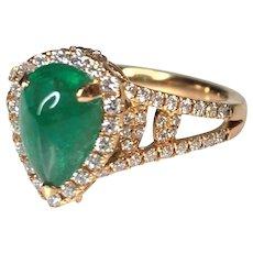 18K Rose Gold Cabochon Pear Shaped Emerald Diamond Ring