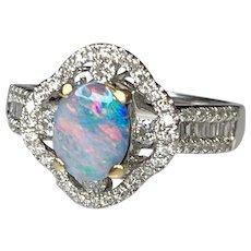 14K White Gold Oval Cut Australian Opal Diamond Ring